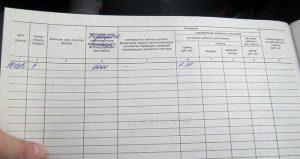 Пример занесения первой записи в журнал кассира