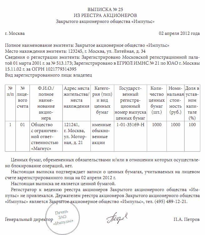Образец Выписки из списка участников ООО
