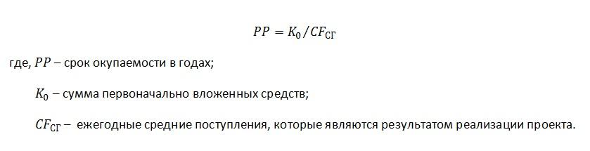 Формула расчета простого срока окупаемости