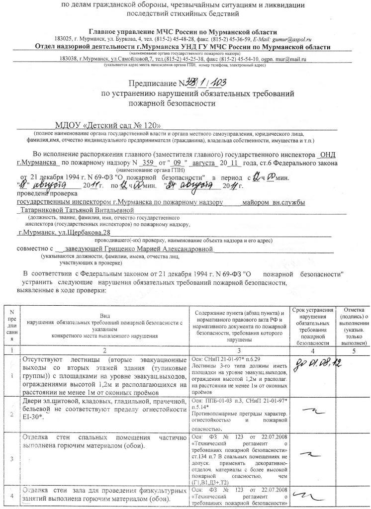 Образец предписания по устранению нарушений обязательных требований пожарной безопасности